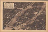 1922 Paris Aerial Views Cathedral Notre Dame Sainte Chapelle Prison Sepia Print