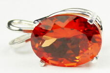 CLEMSON FANS! SP004, 16x12mm 12ct Padparadsha CZ, Sterling Silver Ladies Pendant