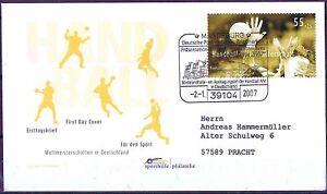 Frg 2007: World Handball Championship! FDC Der No. 2578 With Stamp Magdeburg!