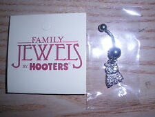 NEW WOMEN'S SILVER OWL HOOTERS LOGO BELLY RING WITH GIFT BAG RARE FIND FREE SHIP