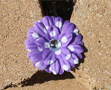 Lavender Polka Dots Daisy Flower Hair Clip Headband Accessory Girls