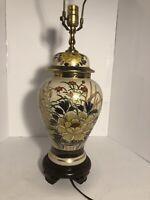 Japanese Kutani Satsuma Style Jar Lamp Porcelain Crackled Glaze Gold Trim