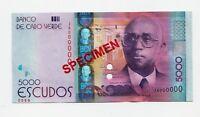 SPECIMEN: Cape 2014 P-75 Unc Escudos Banknote 5,000 Cabo Verde 5000