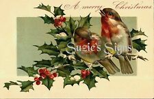 Vintage Victorian Christmas Postcard Printed onto Fabric Victorian Red Robins
