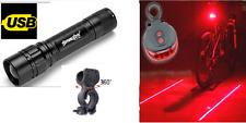 Zoom potenti Anteriore e Posteriore Luci Laser Set-Rosso Brillante Luce Torcia Bici in Lega