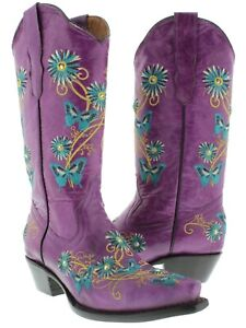 Womens Leather Western Boots Butterfly Flower Embroidered Snip Purple Size 5
