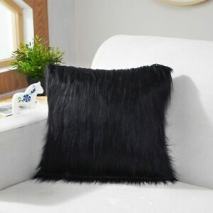 Pillowcase Cushion Cover Hairy Faux Fluffy Plain Wool Soft Throw Washable Solid