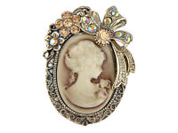 UK Old Gold Topaz Crystal Rhinestone Cameo Maiden Flower Ribbon Bow Pin Brooch