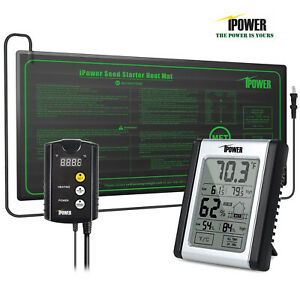 iPower Seedling Heat Mat & ETL Digital Thermostat Control & Humidity Monitor Set
