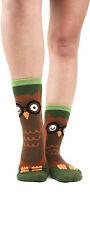 Owl Foot Traffic Slipper Socks Non-Skid New Women's Hosiery Size 9-11