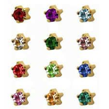 12 Pairs Birthstone 24K Gold Over Surgical Prong 4mm Ear Piercing Stud Earrings