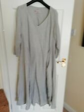 Manuelle Guibal Paris pearl grey linen dress and matching scarf size 4