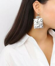 BIG Long Square Earrings Silver Dangle Geometric Minimalist Oversized Statement