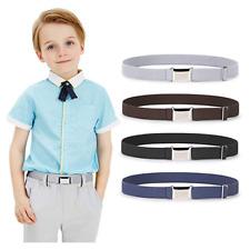 "Fashion Kids Adjustable Elastic Stretch Belt Silver Buckle Pants Size Below 26"""