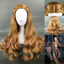 Brown charming cosplay volume role playing halve long wig fashion big wave lady