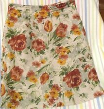 1990s St MICHAEL SKIRT M&S Rust Orange Roses Tulips Linen  Sz 10
