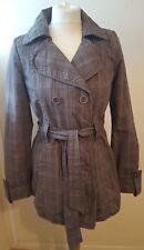 Jane Norman Ladies Womens Checkered Trench Coat Mac Size 12