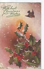 1905 Antique R Tuck Postcard Christmas Wishes Robin Holly