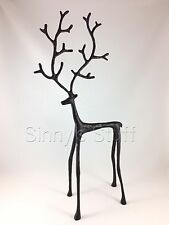 "Pottery Barn 18"" Medium Sculpted Reindeer Object Antique Bronze Stag Figure NWT"