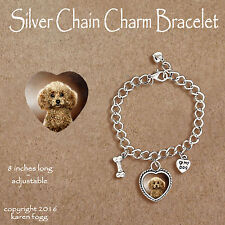 POODLE DOG Toy Mini Chocolate - CHARM BRACELET SILVER CHAIN & HEART