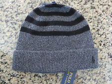 Polo RALPH LAUREN Skully Beanie Heathered Grey and Navy Striped Cap Hat
