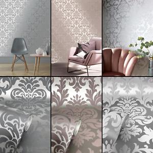 Rasch Platina Metallized Damask Metallic Wallpaper Rose Gold Silver Grey Heavy