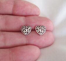 heart post stud earrings. Sterling Silver 10mm Floral