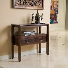 Elegant Design Brown Mahogany Wood Accent Table w/ Drawers
