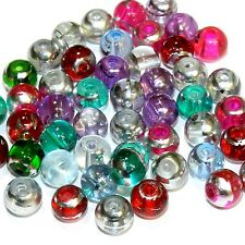 G853L Assorted Color 8mm Round Silver Metallic Drawbench Swirl Glass Bead 50/pkg