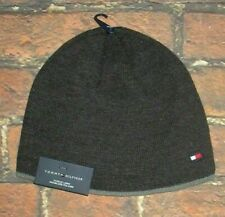MENS TOMMY HILFIGER  FLEECE LINED DARK GRAY CHARCOAL BEANIE HAT ONE SIZE