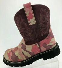 Ariat Cowboy Working Ankle Boots Purple Multi Color Casual Pull On Womens Sz 7 B