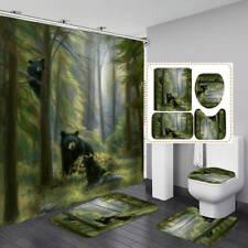 Forest Bear Door Bath Mat Toilet Cover Rugs Shower Curtain Bathroom Decor