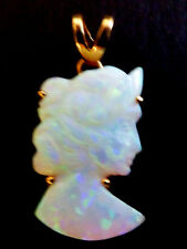 14K YELLOW GOLD HAND CARVED WOMEN FACE OPAL CAMEO PENDANT