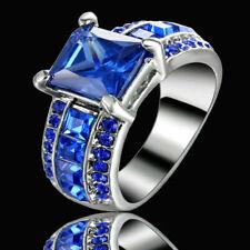 Size 7 Rhodium Plated Blue Sapphire Wedding Ring Anniversary Christmas Mom Gift