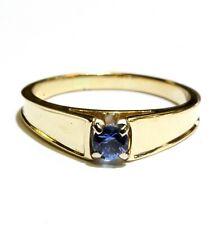 14k yellow gold round womens Sapphire ring 3.5g ladies estate vintage