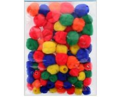0.5 & 1 inch Multi Colored Pom Pom Beads 75 Pieces