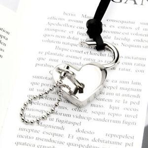 Love Heart Lock with Key Pendant, Necklace, Lockable Padlock