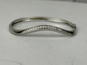 "18K White Gold & Diamond Curved Bangle Bracelet 7.5"""
