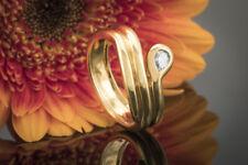 Schmuck Solitär Ring Goldschmiedearbeit 1 Diamant Tropfen River 750er Gelbgold