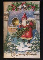 Old Antique~Victorian~Christmas Postcard~Santa Claus~Victrola Records Music-a334