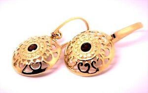 Genuine Heavy 9ct Solid Rose Gold Antique Red Garnet Filigree Drop Earrings