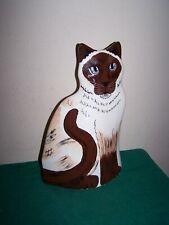 Siamese Cat Ceramic Vase Cats By Nina, Nina Lyman Blue Eyed (11 Inches)