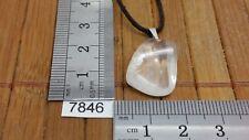 Pendentif CRISTAL DE ROCHE + cordon reglable mineraux pierre roulée reiki bijou