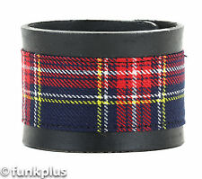 Punk Plaid Genuine Leather Bracelt Punk Gothic Rockabilly Cyber Goth Thrash