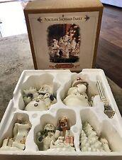 Porcelain Snowman Family Grandeur Noel Collectors Edition 2001 5 Pieces MIB