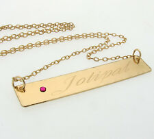 Personalized Script Name Necklace - Rectangle Pendant .Custom Engraved Gold  Bar
