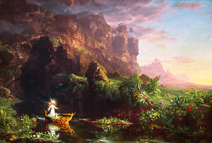 Thomas Cole - The Voyage of Life Childhood, 1842 Art Poster, Museum Canvas Print