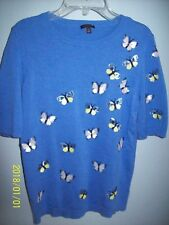 TALBOT'S COTTON BLEND BLUE SHORT SLEEVE BUTTERFLY  SWEATER SMALL