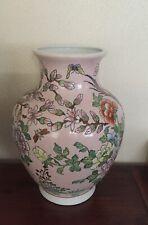 China chinesische Porzellan Vase chinese famille Rose Vögel Blume 31 cm Top