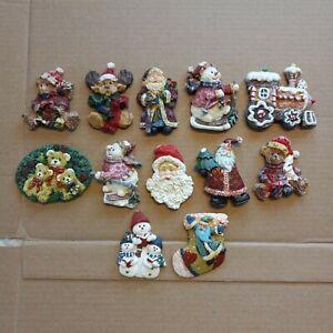 Lot of 12 Christmas-Themed Refrigerator Magnets Snowmen Santa Dogs